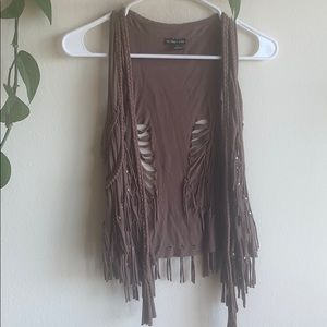 brown boho fringe vest with metal studs size small